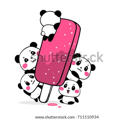 Happy cute pandas eat fruit ice cream popsicle on white background. Vector illustration of many lovely cartoon pandas with big pink ice cream. Flat style design for greeting card, tshirt, sticker