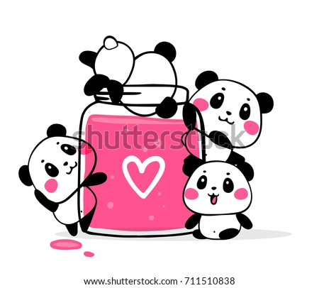 Happy cute pandas eat fruit jam on white background. Vector illustration of many lovely cartoon pandas with big pink jam jar. Flat style design for poster, greeting card, print, tshirt, sticker