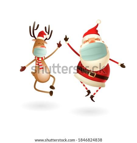 Happy cute Santa Claus and Reindeer with antivirus masks celebrate Christmas holidays - vector illustration isolated on white background