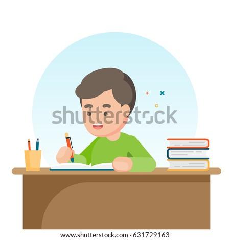 Happy cute  school boy writing for homework, Study concept, Vector illustration.