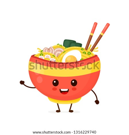 happy cute smiling funny ramen