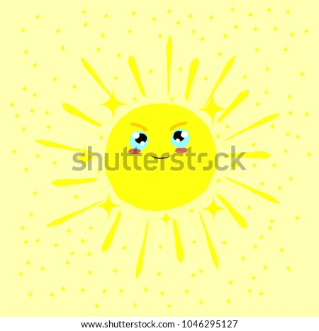 happy cute sun with small star