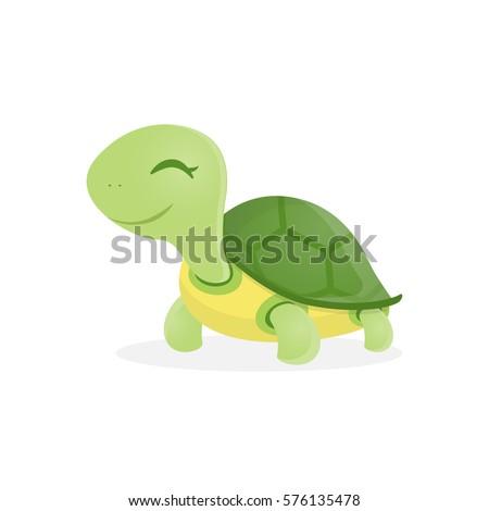 Happy cute turtle walking with smile, Vector cartoon illustration.