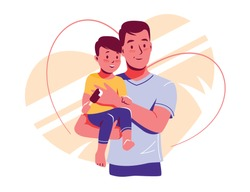 Happy dad and baby son are look into the distance together. Father is holding child. Fathers day. Vector illustration isolated on white for card, web banner, site