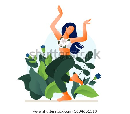 Happy dancing girl or woman dancing outdoor vector illustration. Morning dance. Aerobic fitness dance.