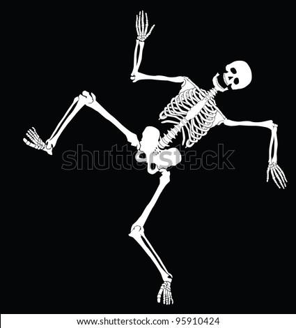 Happy  dancing skeleton on black. Vector eps8