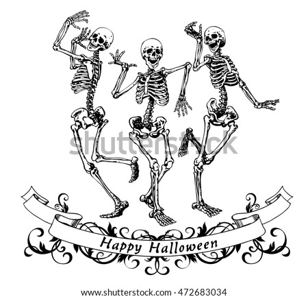 happy dancing skeletons on