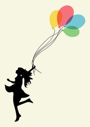 Happy dancing woman with floating balloons. EPS10 file version. This illustration contains transparencies and is layered for easy manipulation and custom coloring