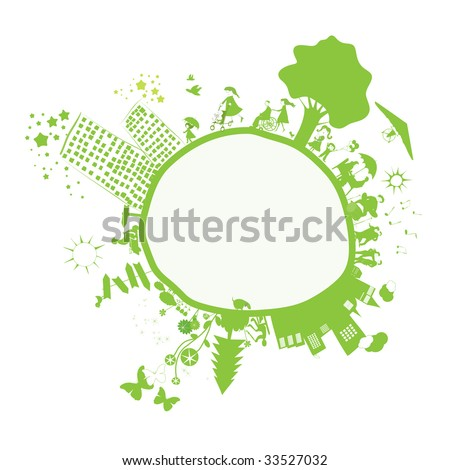 happy days on a green world - stock vector