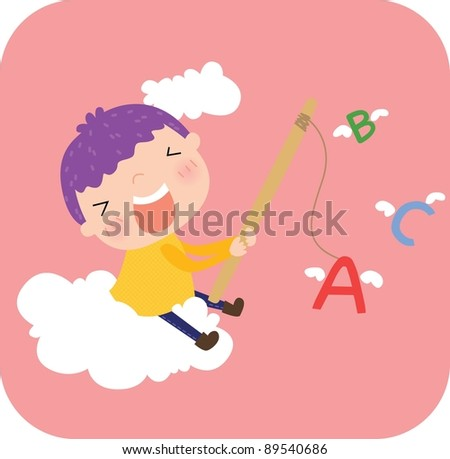 Happy Days with ABC Fishing - Learning Letters with a cute little boy on pink background : vector illustration