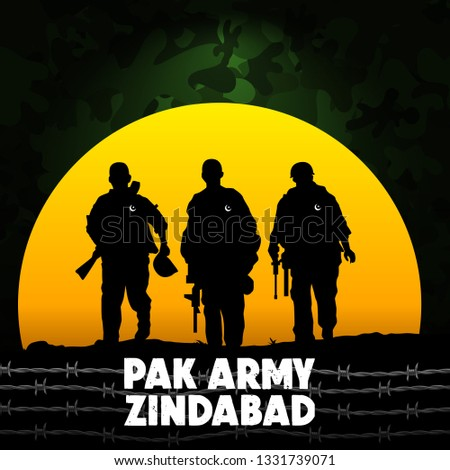 """Happy Defence Day. English typography """"Pak Army zindabad"""" translation: """"Happy Pakistan Army day"""" with big sun and soldier on army background and barbed wire."""
