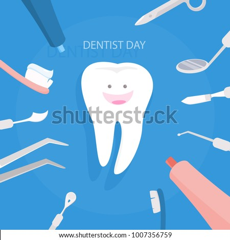 Happy dentist day with white tooth and doctor equipment.