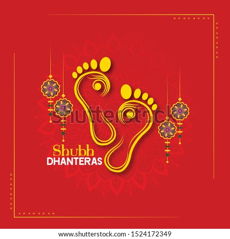 happy Dhanteras Indian Dhanteras Diwali festival celebration background. Happy dhanteras. Maa Lakshmi footprint