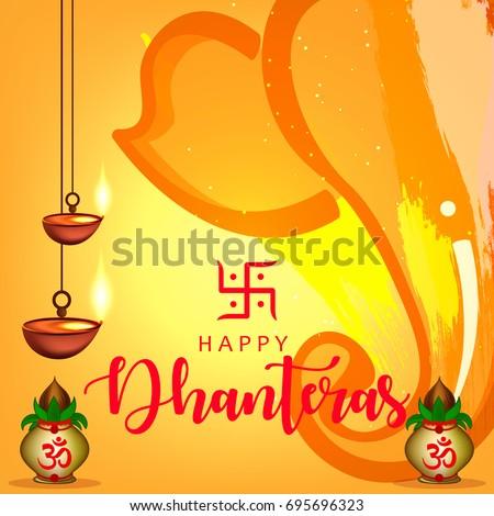 Happy Dhanteras wallpaper design, Vector Illustration.