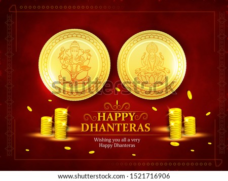 Happy Dhanteras with Coin Pot on shiny floral background for Shubh Dhanteras festival  with gold coin