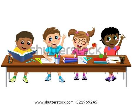 happy diligent kids or children