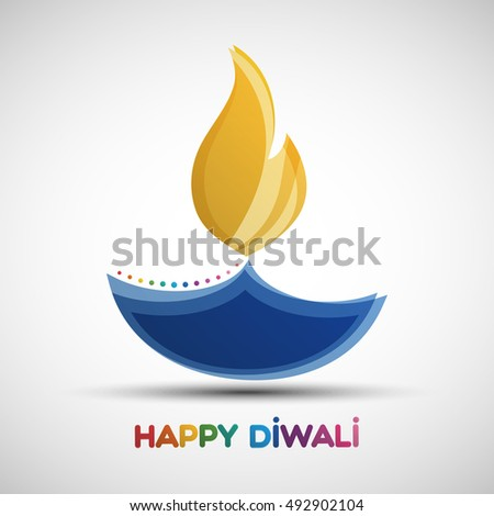 Happy Diwali abstract background. Festival of lights Deepavali. Vector illustration of Diya oil lamp for your greeting card design