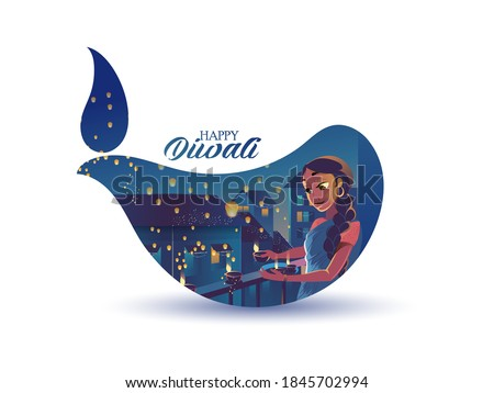 Happy Diwali Celebration Diwali Sale Offer Poster Design With Illuminated Oil Lamps (Diya) On Background