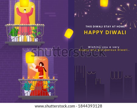 Happy Diwali Celebration Urban Background with Cartoon Man and Woman Holding Sky Lanterns on Their Balcony. Stay At Home, Avoid Coronavirus.
