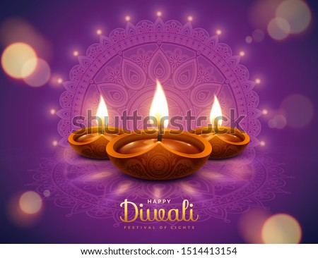 Happy diwali design with diya oil lamp elements on purple rangoli background, bokeh sparkling effect
