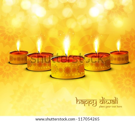 Happy diwali diya celebration bright colorful background