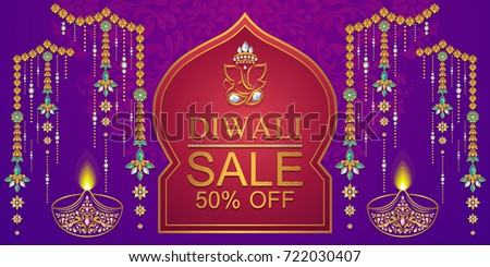 Happy Diwali festival card with gold diya patterned and crystals on paper color. - Shutterstock ID 722030407