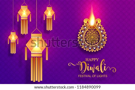 stock-vector-happy-diwali-festival-card-with-gold-diya-patterned-and-crystals-on-paper-color-background
