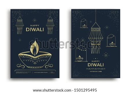 Happy Diwali festival greeting card design with stylized oil lamp, hanging lamp and decorations. Vector golden line illustration for light festival India.