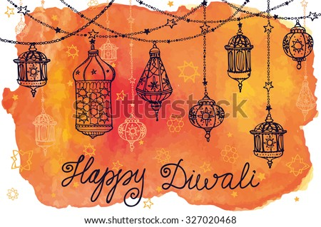 Happy Diwali festival.India Traditional hanging lamp.Doodle,Watercolor card.Greeting card.Hand drawing decor.Indian religion holiday Holy diya Shubh Deepawali.Horizontal Illustration