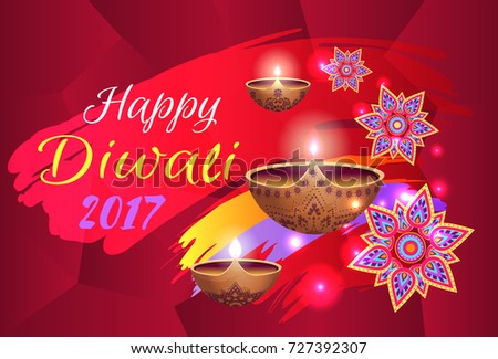 Happy diwali 2017 festival of lights held in India, picture with lamps and title, traditional symbols colorful vector illustration - Shutterstock ID 727392307
