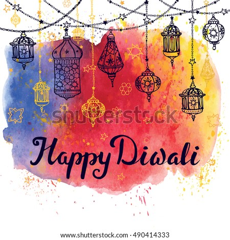 Happy Diwali FestivalTraditional Hanging LampDoodle VectorWatercolor BackgroundGreeting Card