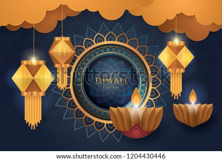 Happy Diwali festival with oil lamp, Diwali holiday Blue Background with diya lamps and rangoli, Symbol of Diwali celebration greeting card, Hanging Gold Lanterns, Hinduism art Style, Paper art vector