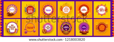 Happy Diwali Festive Design Template Set Background,Offer Banner,Sticker,Label,Cover,Greeting Card.Easy To Edit Vector Illustration. Stock photo ©