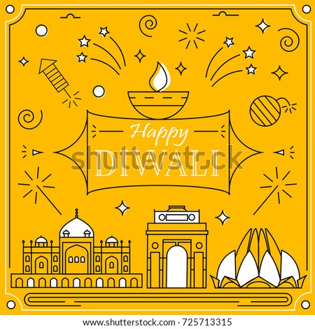 Happy diwali  greeting card in linear style with fireworks and petards, famous buildins,  indian festival celebration background