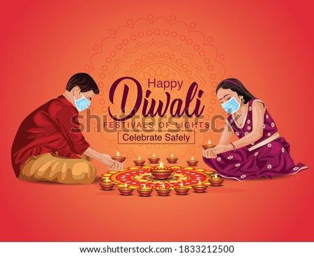 happy Diwali greetings vector illustration. illustration of children's making Rangoli and diya decoration. covid corona virus concept.