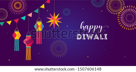 Happy Diwali Hindu festival banner, greeting card. Burning diya illustration, background for light festival of India