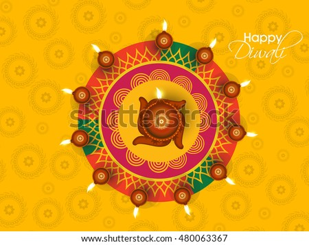 Happy Diwali Illustration, Flyer Design for Diwali festival