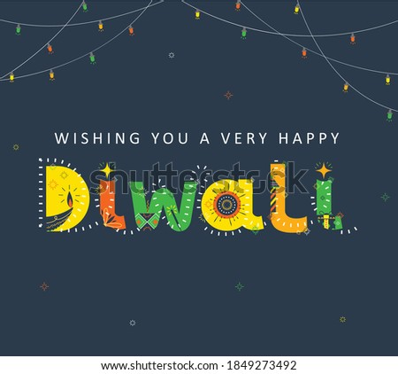 Happy Diwali, Illustration of festival of lights, Indian holiday, vector, Typography, festive elements, crackers, lights, gift, candle, lamp, diya, earthen lamp. Foto d'archivio ©