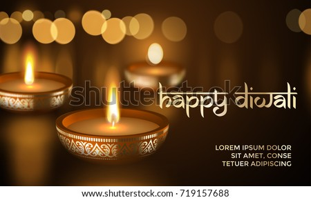 Happy Diwali Indian Deepavali Hindu festival of lights holiday greeting card template. Vector gold candle light flame in golden blur premium effect background and traditional text lettering ornament