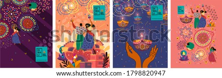 Happy Diwali. Indian festival of lights. Vector abstract flat illustration for the holiday, lights, hands,  Indian people, woman and other objects for background or poster.    stock photo