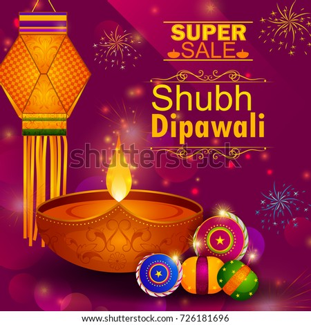Happy Diwali light festival of India greeting advertisement sale banner background in vector - Shutterstock ID 726181696