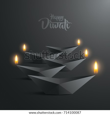 happy diwali paper graphic of