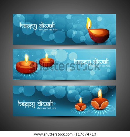 happy diwali stylish blue colorful set of headers vector design