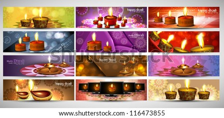 happy diwali stylish bright colorful set of headers collection vector