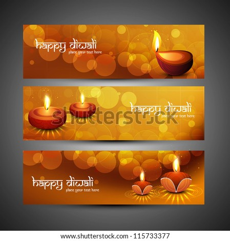 happy diwali stylish bright colorful set of headers vector