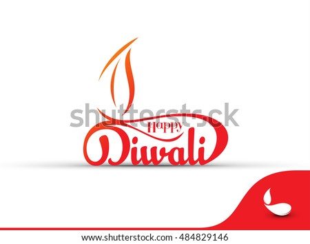 happy diwali text design