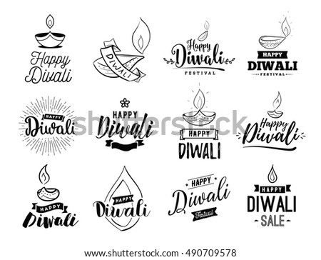 happy diwali typography set