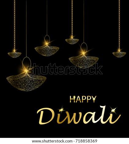 Happy diwali vector illustration. Deepavali light and fire festival. Hanging lamps. Gold colors, polygonal art on black background