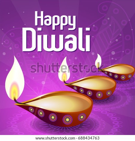 Happy Diwali Vector  illustration. (Translation: Festival of Lights)
