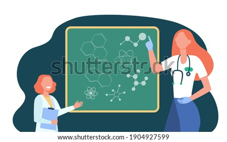 Happy doctor explaining molecular genetics to kid. Girl, atom, chalkboard flat vector illustration. Education and science concept for banner, website design or landing web page Photo stock ©